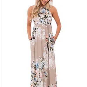 Raisevern Stone Floral Racer Back Maxi Dress